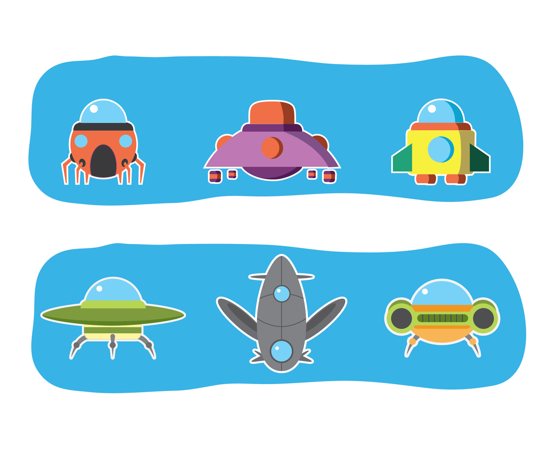 2D UFO Sticker Design