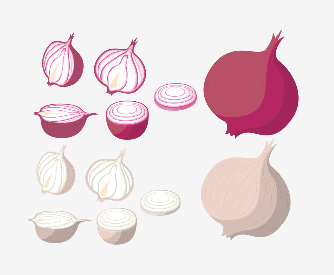 Sliced Onion and Garlic