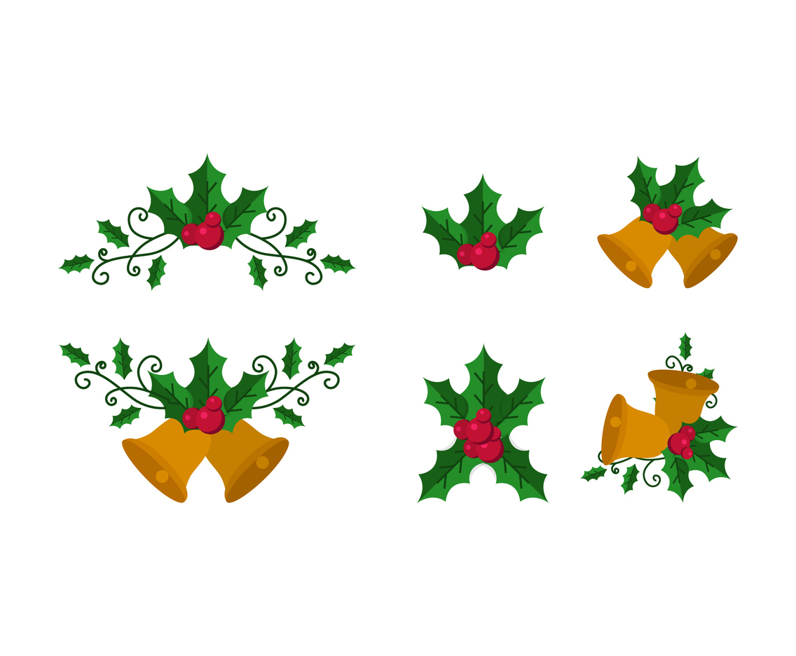 Holly with Bell Vector Set