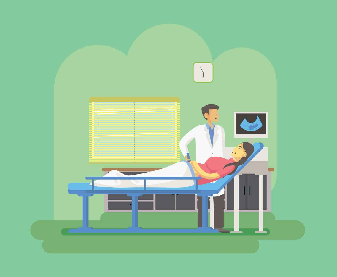 Free Ultrasound Checkup Pregnant Illustration