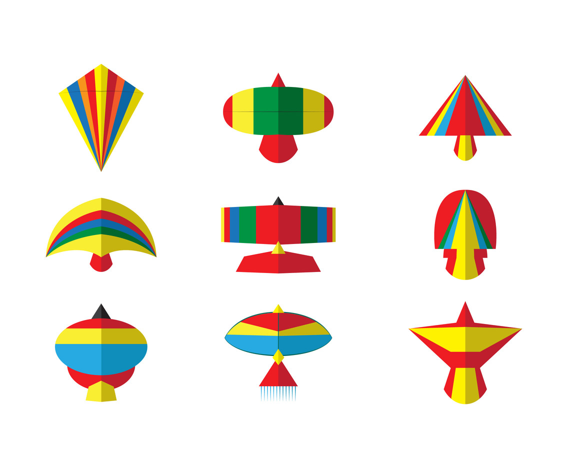 Kite flat vector set
