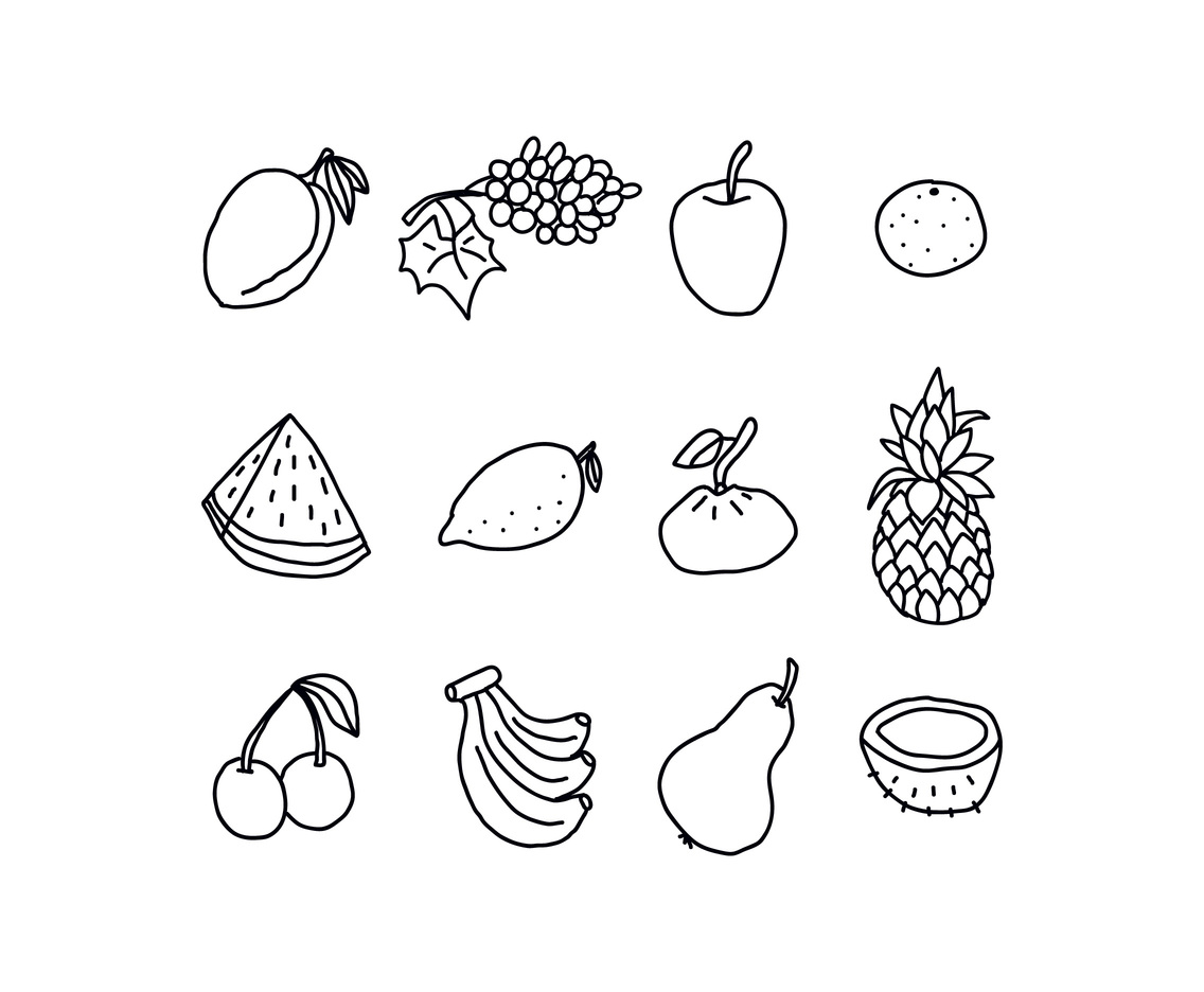 Black and White Set of Fruits
