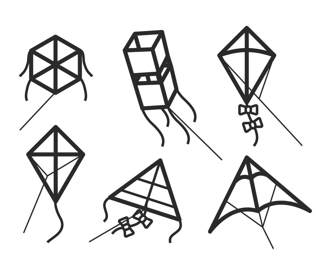 Line Drawing Kite : Kite vector art graphics freevector