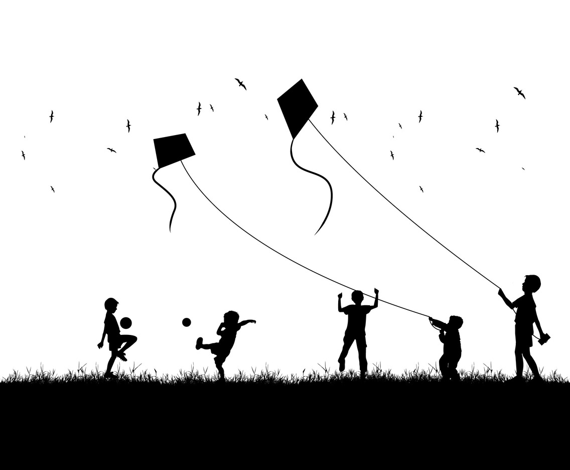 Illustration of kite silhouette with children