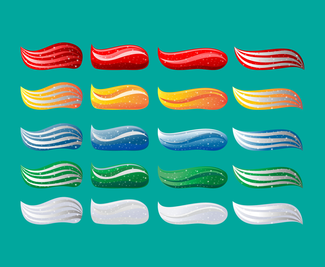 Set of multicolored toothpaste