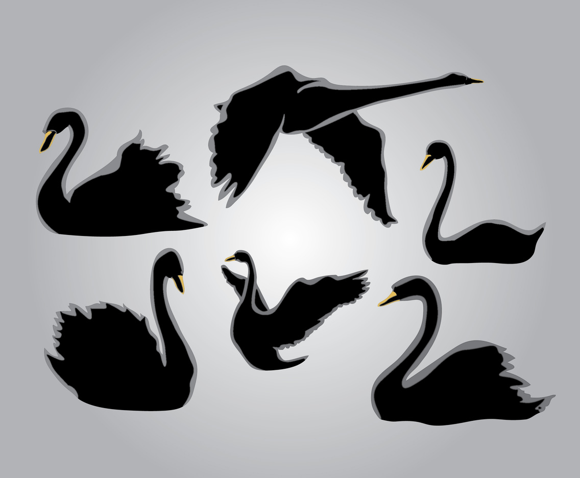 Six Silhouette Swan Vector Art & Graphics | freevector.com
