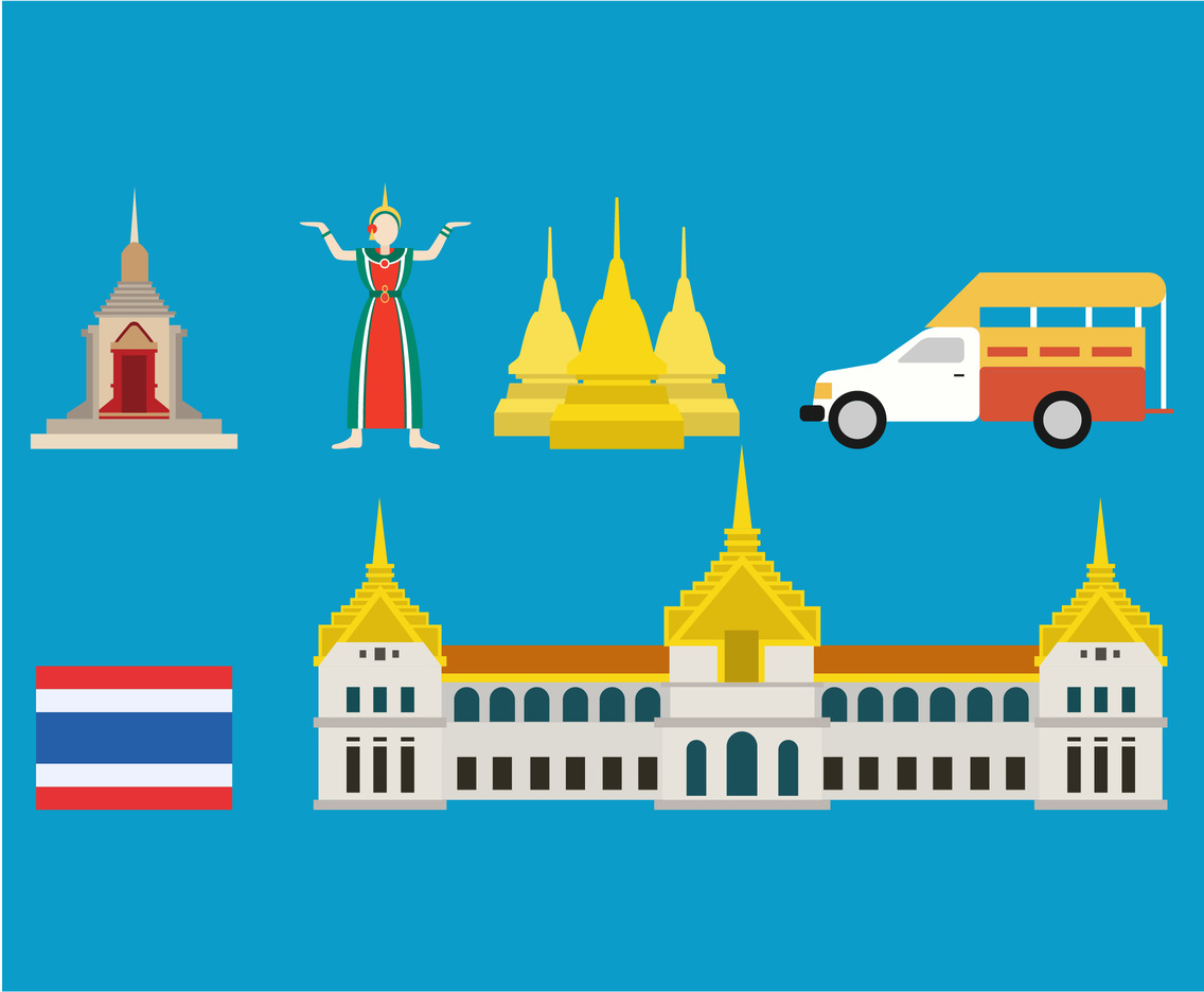 2D Bangkok Icon Vector Set