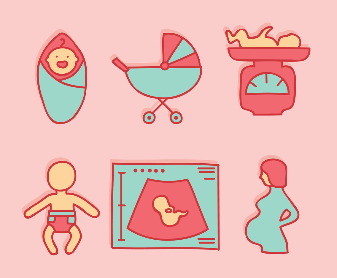 Hand Drawn Pregnant Element Vector Set