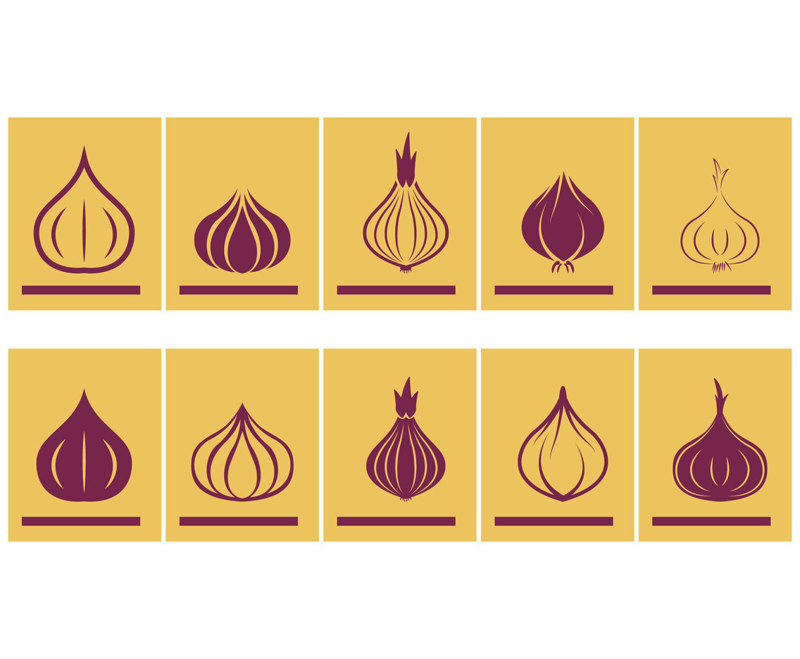 Icon symbol set of onions
