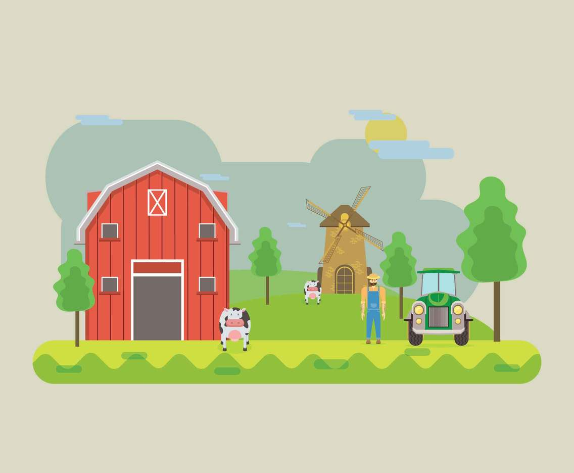 Free Farming Background with Barn Illustration