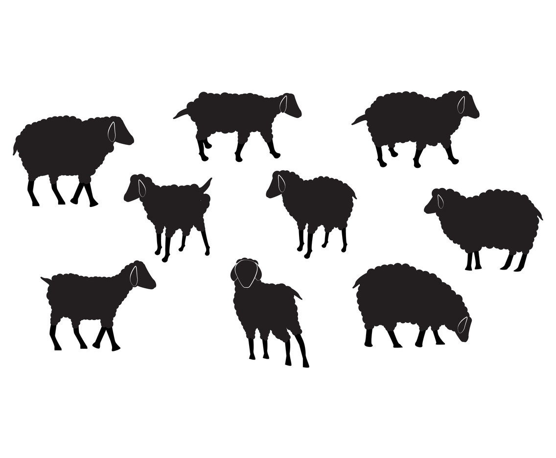 Sheep vector set silhouette