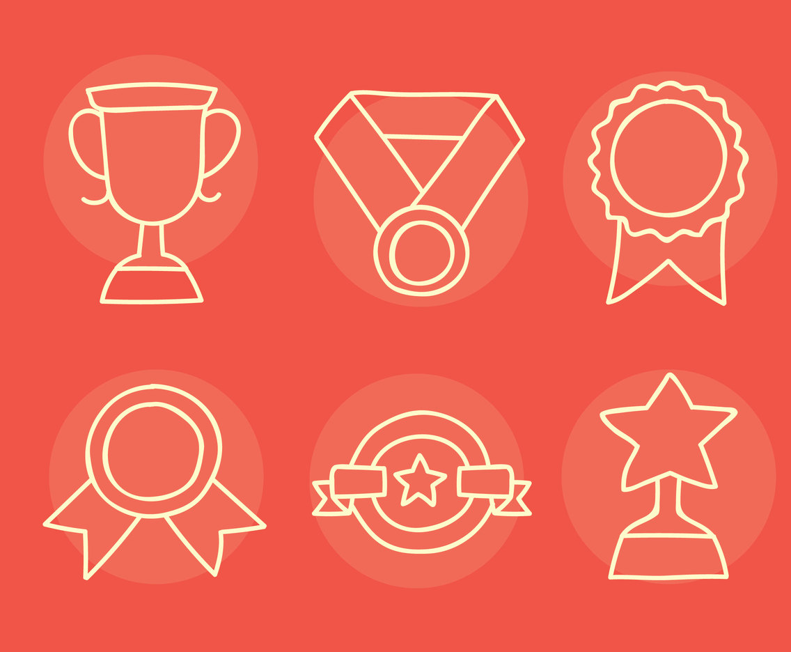 Reward Line Icons Vector