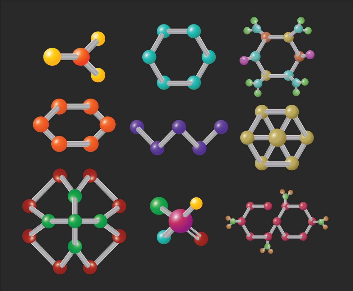 3D gradient molecules vector set