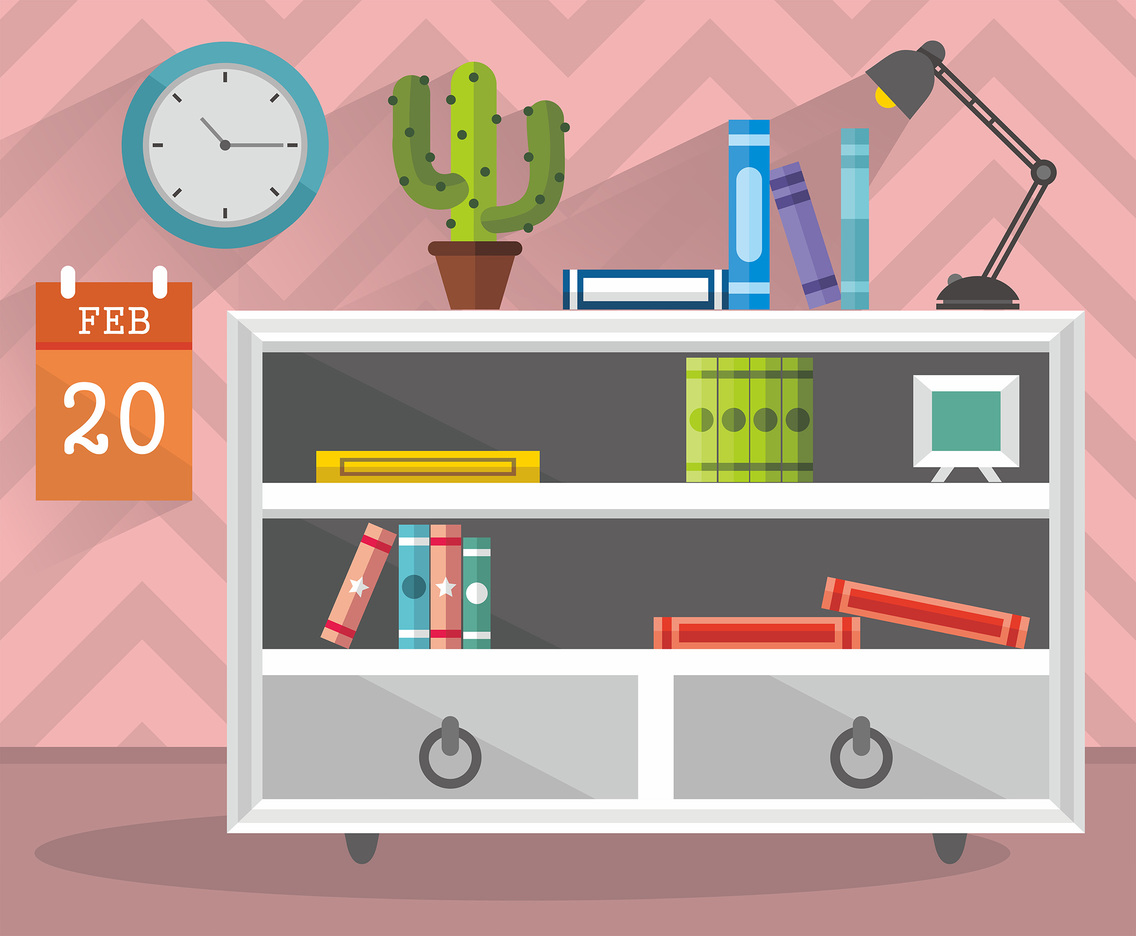 Cute Room and Book Shelf Vector Design