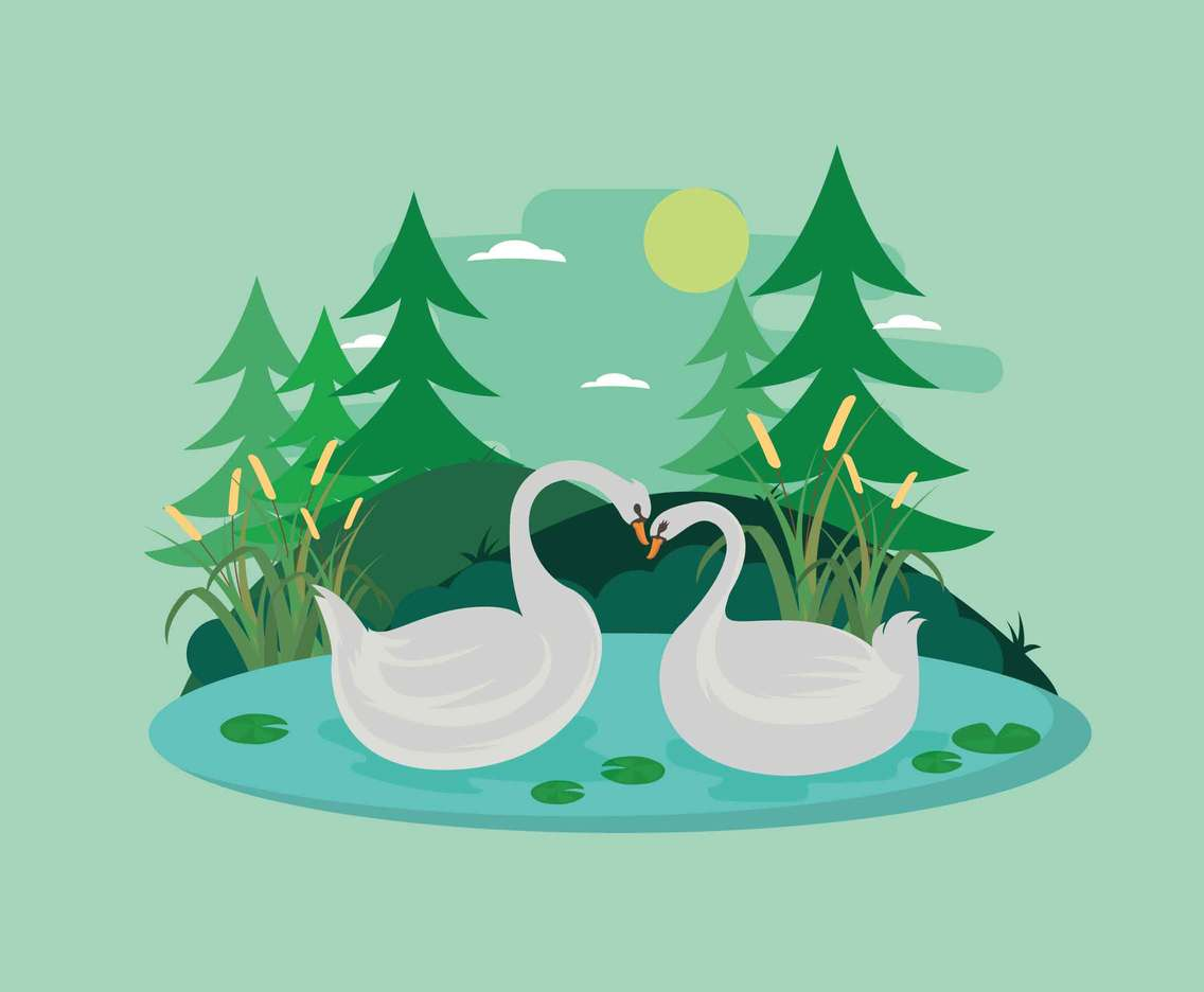 Free Swan Couple Forming a Heart Illustration