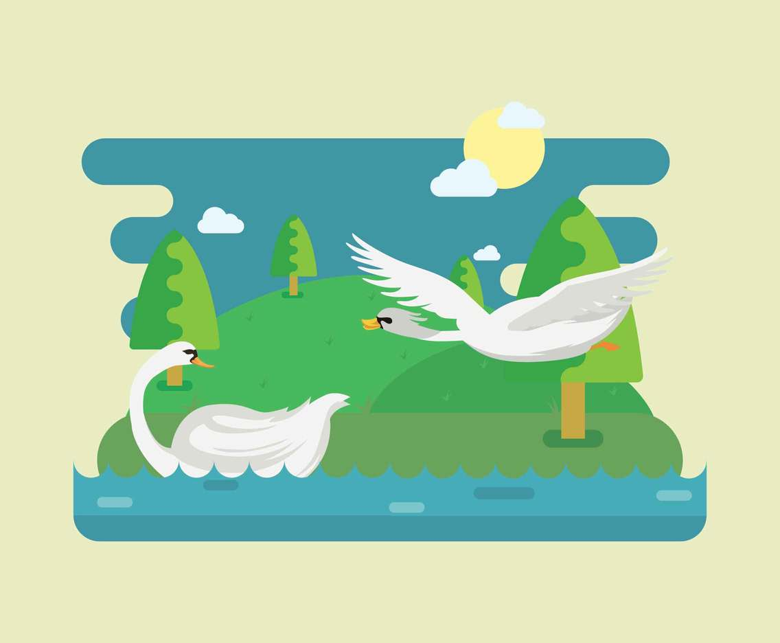 Free Flying Swan on Lake Illustration