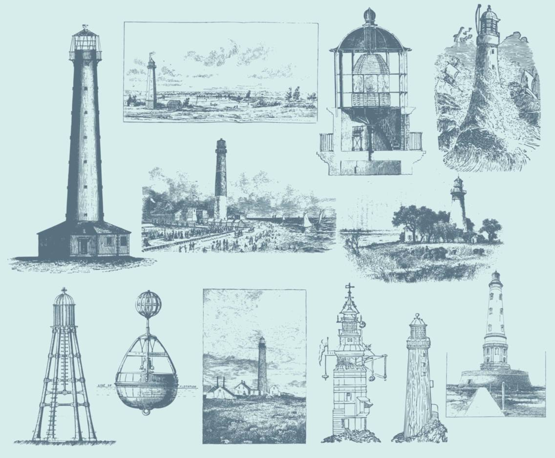 Blue Vintage Lighthouse Illustrations