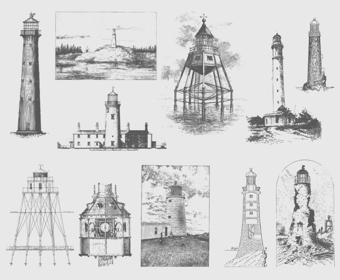 Gray Vintage Lighthouse Illustrations