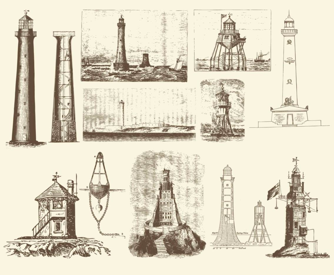 Sepia Vintage Lighthouse Illustrations