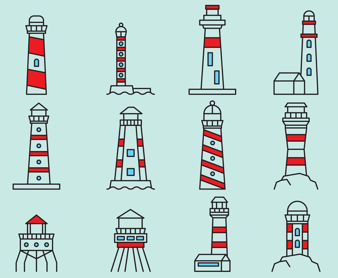 Lighthouse Line Icons