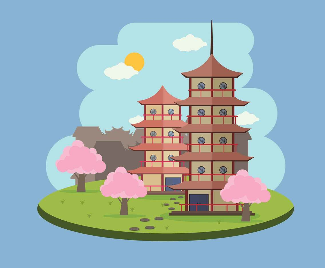Free Two Ancient Pagoda in the middle City Illustration