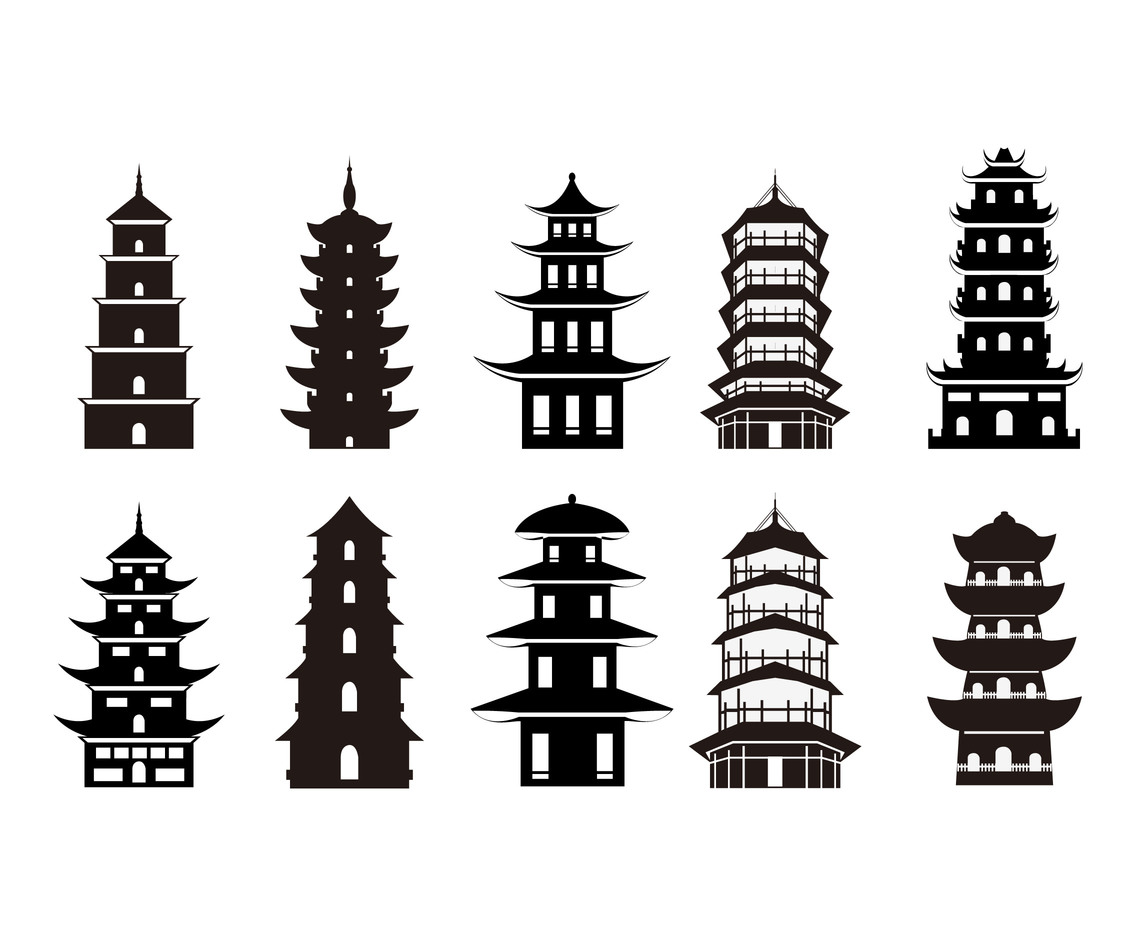 Pagoda symbol silhouette vector set