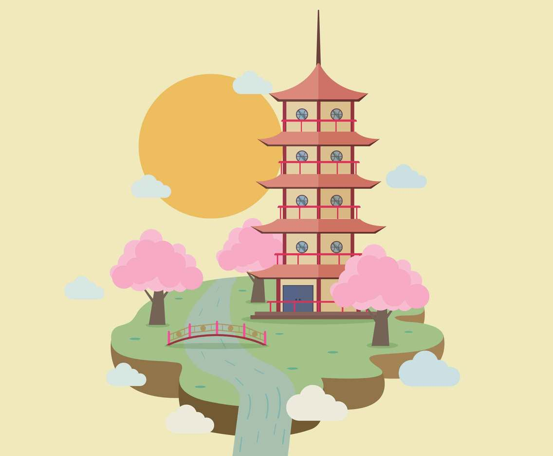 Free Pagoda With Bridge Illustration