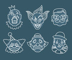 Clown Joker Face Vector Set