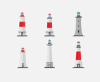 Six Lighthouse Tower Vectors