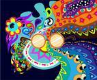 Psychadelic Hippie Background Vector