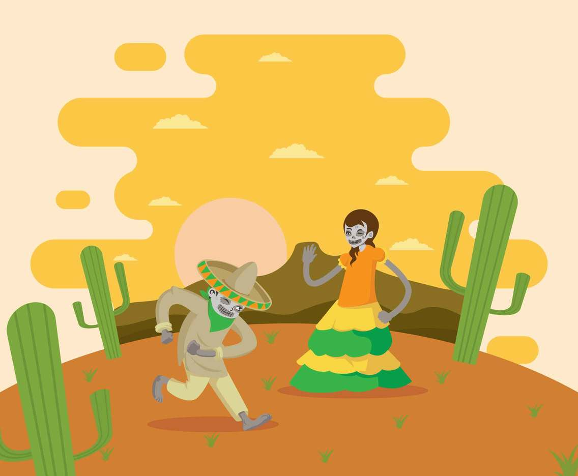 Free Mexican Skull Couple Dancing Illustration