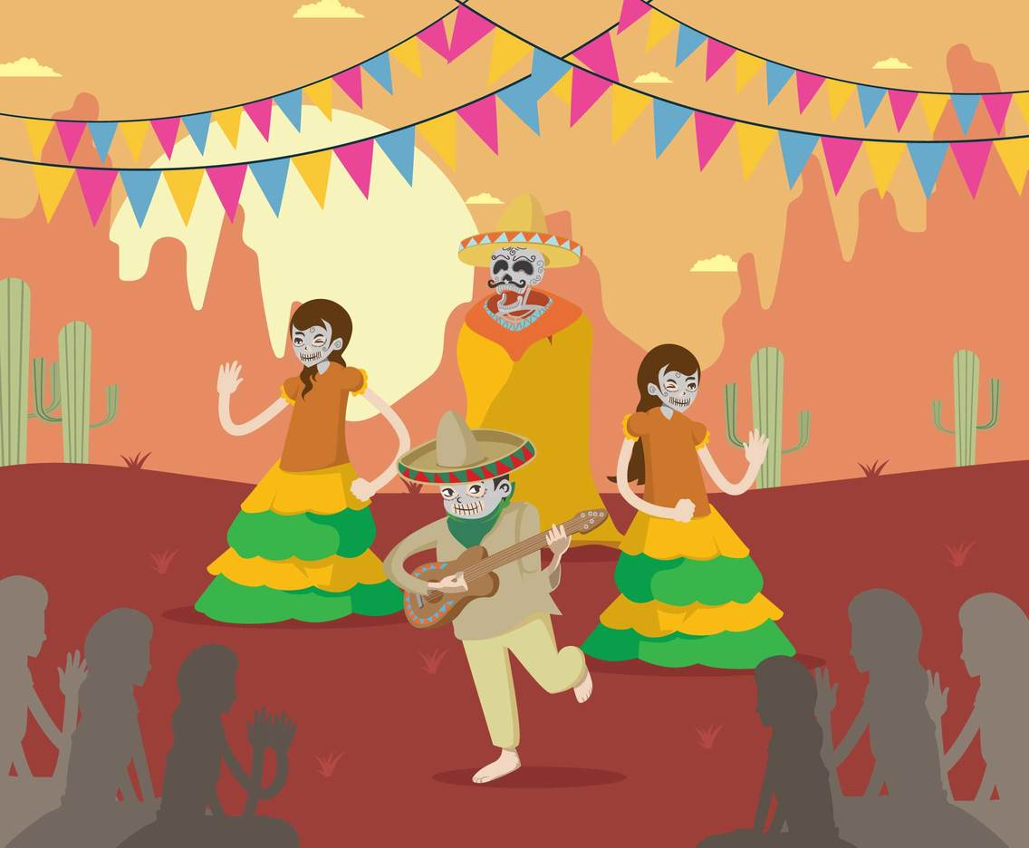 Free Mexican Skull Dance Party Illustration