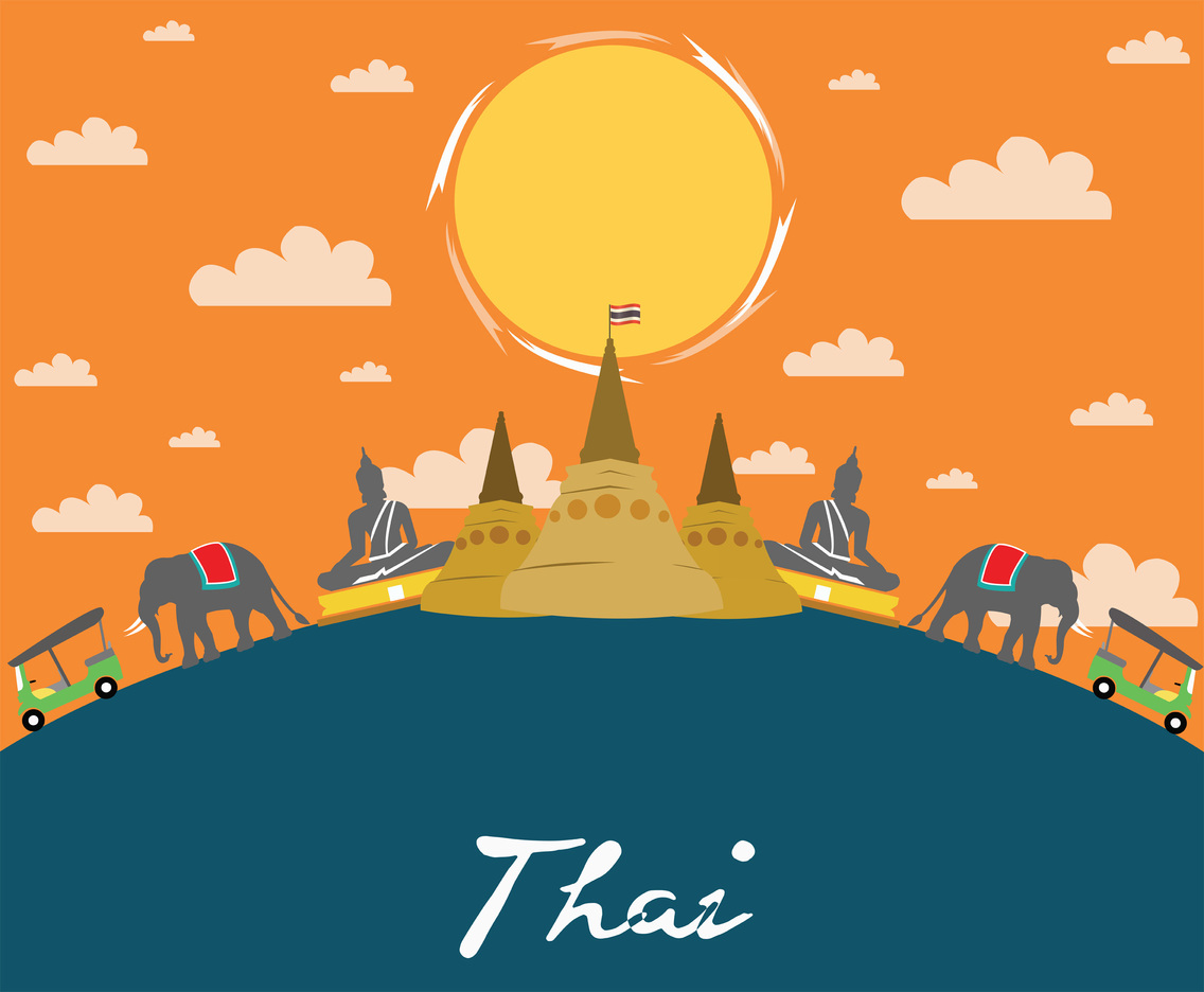 Visit Thailand Vector Illustration