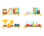 Flat Bookshelf With Colorful Objects