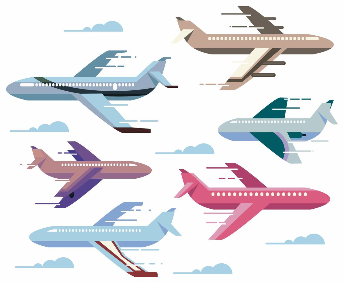 Zooming Cartoon Plane Vectors