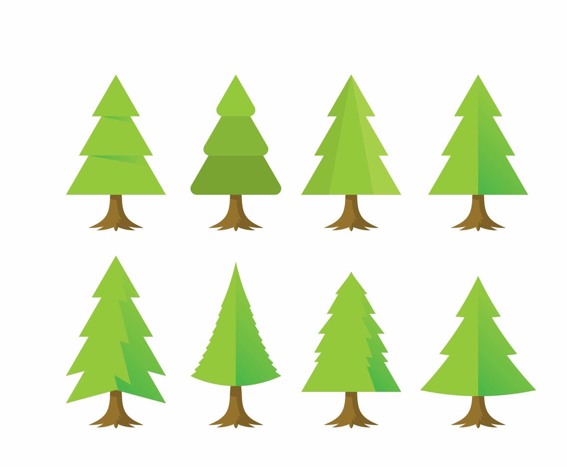 Christmas Tree Vector.Free Flat Cartoon Christmas Tree Vector Art Graphics