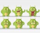 Green Monster Cartoon Vectors