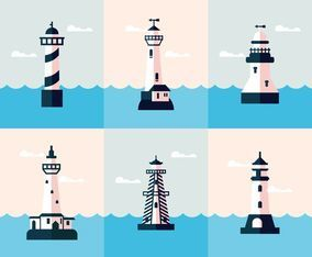Blue Lighthouse Vectors