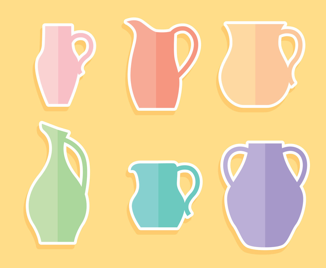 Nice Flat Jug Collection Vector
