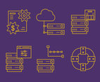 Data Hosting Line Icons Vectors