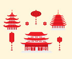 Red Chinese Pagoda and Lamp Vectors