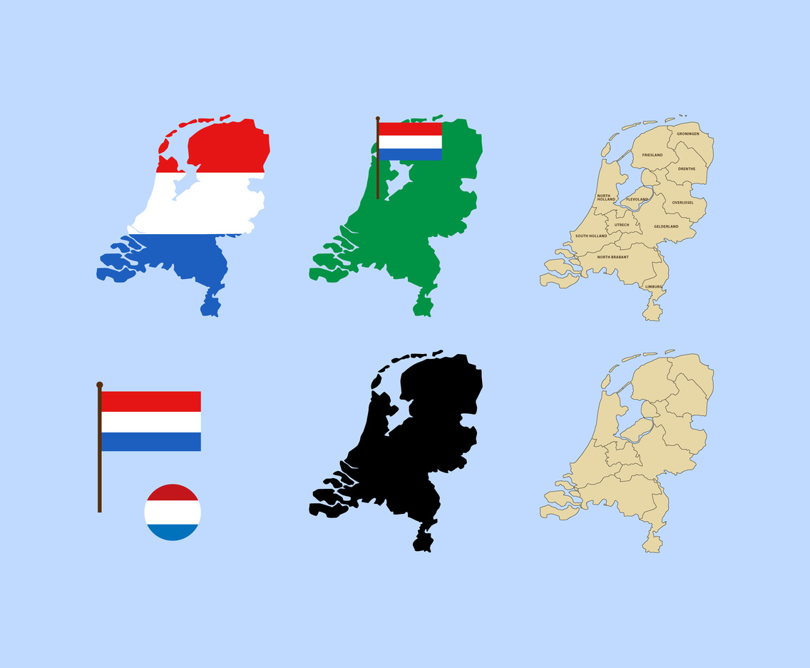 2D Netherlands Map And Flag