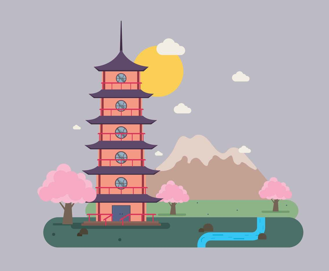 Free Japanese Red Pagoda Illustration