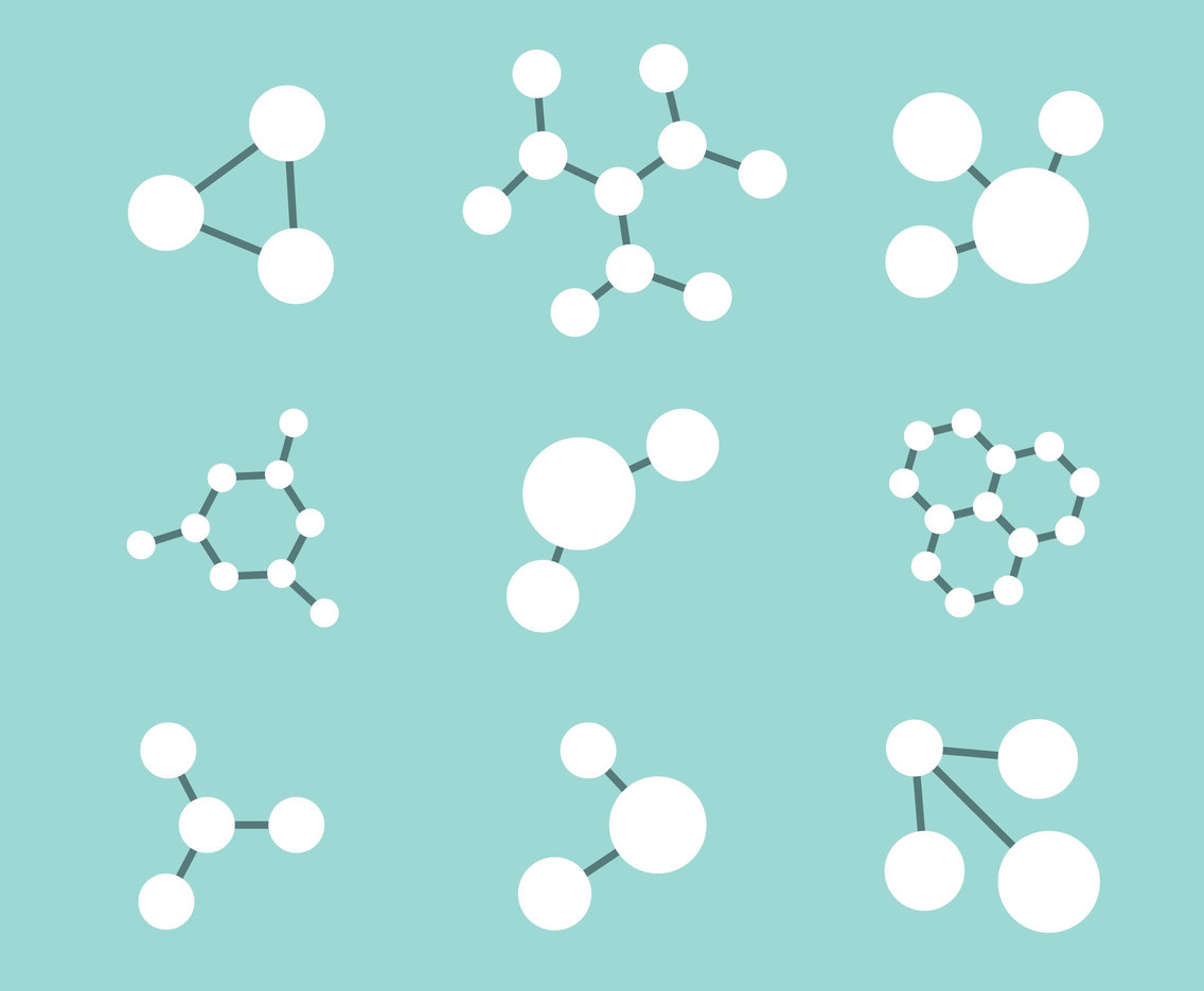 White Molecules Collection Vectors