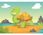 Cartoon Galapagos Turtle Vector