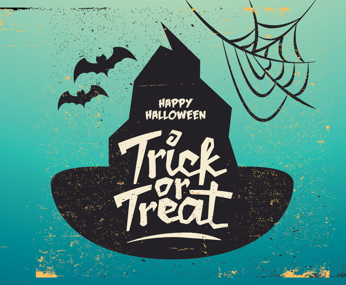 Witch's Hat Trick-Or-Treat Vector