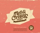 Striped Merry Christmas Label Vector