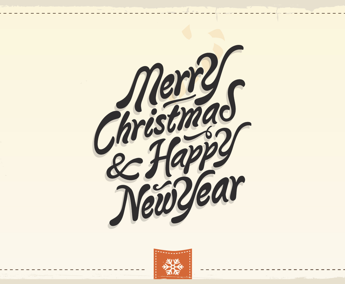 Merry Christmas & Happy New Year Vintage Vector