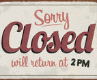 Sorry, We're Closed Vintage Sign Vector