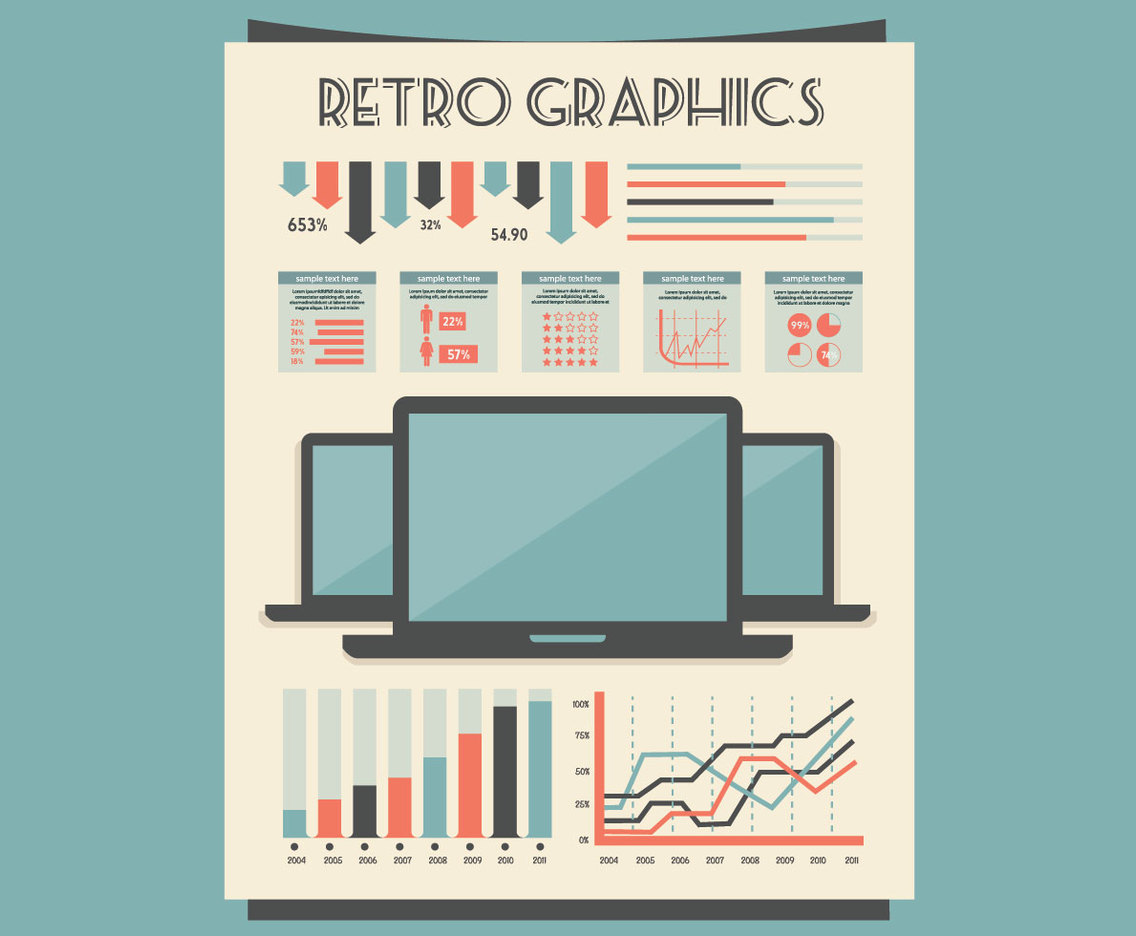 Throwback Office Graphs and Tables Vector